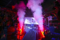 Kansas freshman Carlton Bragg makes his entrance to the fieldhouse during Late Night in the Phog, Friday, Oct. 9, 2015 at Allen Fieldhouse.