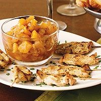 1/2 cup packed brown sugar 1/2 cup white wine vinegar 1/2 teaspoon grated fresh ginger 1 small clove garlic, minced 1/4 teaspoon ground cinnamon 2 cups peeled, cored, and chopped tart cooking apple (2 medium) 1/2 cup snipped dried apricots 1/4 cup chopped onion 1/2 teaspoon dried thyme, crushed 3 tablespoons apple juice 2 tablespoons Dijon-style mustard 1/2 teaspoon dried thyme, crushed 1 1/4 pounds boneless pork loin