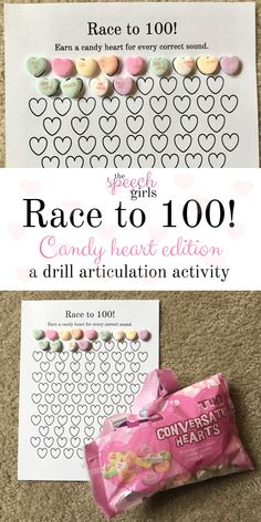 Race to 100 | Valentine's Day speech therapy drill articulation activity