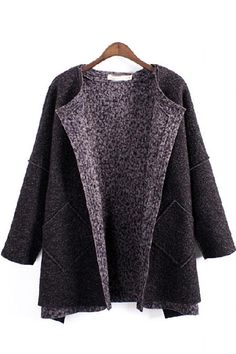 Retro Two-Pcoket Loose Long Sleeve Tweed Winter Coat
