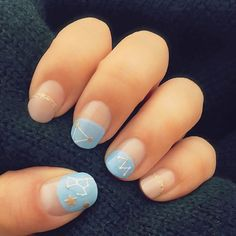 Constellation Manicures Are The Nail Art You Actually Want #refinery29  http://www.refinery29.com/2016/12/131604/constellation-manicures-instagram#slide-4  This manicure marries a trio of nail trends: the half-moon mani with constellations and glitter....