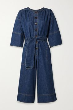 Vanessa Bruno's 'Nikita' jumpsuit is cut from naturally stretchy denim and has three-quarter length flared sleeves, which match the shape of the wide legs. It's scored with dark-brown buttons which look a little against the dark-blue wash. Wide Leg Pants, Wide Legs, Denim Jumpsuit, Vanessa Bruno, Personal Shopping, Jennifer Fisher, Fashion Advice, Blue Denim, Dark Brown