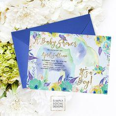 Elephant Baby Shower Invitation - Boho Elephant It's A Boy Floral Baby Shower Invitation Watercolor Faux Gold Foil
