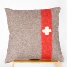 Cushion 50x50cm - made from vintage Swiss army blanket