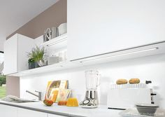 Handleless kitchens in London, Kent and UK. Flush fitting kitchen doors and drawer fronts, The LINE N collection from Nobilia at The Kitchen Link. Nobilia Kitchen, Kitchen Doors, Kitchen Shelves, Wall Shelves, Kitchen Design, Handleless Kitchen, Drawer Fronts, Working Area, Cool Lighting
