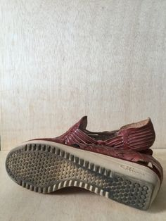 Vintage 1970s Huarache Sandals  *Burgundy Red/Brown Leather  *Rubber Wedge Sole- some wear  *Woven Open Toe *Sling Back  *Womens Size 6-Narrow  *Wonderful Vintage Condition  All Sales Final