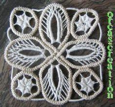 Makrameehäkeln (Macramé Crochet) Crochet Square Patterns, Macrame Patterns, Lace Patterns, Crochet Squares, Irish Crochet, Crochet Lace, Bruges Lace, Romanian Lace, Lace Art