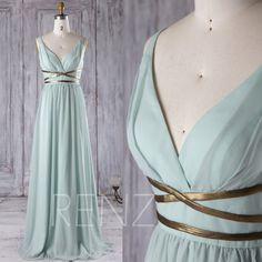 2016 Dusty Shale Chiffon Bridesmaid Dress, Deep V Neck Wedding Dress with Gold Belt, A Line Prom Dress, Long Evening Gown Floor Length(T171)