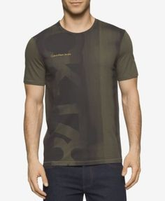 1e6290468 Calvin Klein Mens Slim Fit Brushstroke Logo T-Shirt