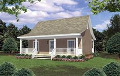 House Plan 348-00252 - This Southern House Plan is perfect for a vacation or permanent residence. The exterior is lovely with plentiful outdoor space while the interior features approximately  800 square feet of living space with two bedrooms and one bath.