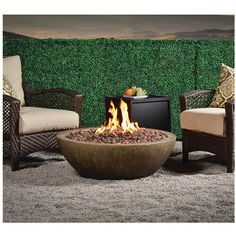 """""""Modavi """"Outdoor Fire Bowl MGO Stone Grey ❤ liked on Polyvore featuring home, outdoors, round fire pit, outdoor fire bowl, outdoors fire pit, outdoor fire pit and outside fire pit"""