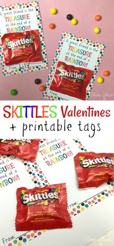 Easy Skittles Valentines with FREE printable cards! Looking for a simple rainbow themed idea for DIY Valentines? Grab our free printable cards, add small fun size bags of Skittles candy and tape them onto the cards. Valentines Bricolage, Kinder Valentines, Valentine Gifts For Kids, Funny Valentine, Valentine Day Crafts, Ideas For Valentines Day, Valentines Cards For Teachers, Homemade Valentine Gifts, Valentines Ideas For Bestfriends
