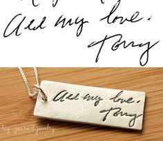 Custom Handwriting or Artwork Necklace from Fine Silver using Actual Hand Writing or Signature