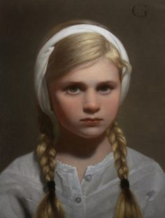 """""""Portrait of a Girl"""", oil/canvas,12x9 in.  by David Gray. Sage Creek Gallery"""