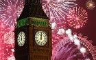 Thousands of people lined the banks of the River Thames in central London to see in the New Year with a spectacular fireworks display