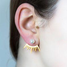 nandel paris gold ray of light pearl ear jackets bijoux d'oreilles perles dessous de lobe 2015