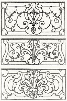 wrought iron balcony decoration. From Architecture, décoration et ameublement pendant le dix-huitième siècle (Architecture, decoration, and furnitures in the 18th century), by Léon Roger-Milès, Paris, 1900. (Source: archive.org)