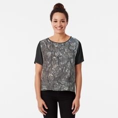 'Spooky Forest Black and White Photography ' Chiffon Top by mwagie Brown And Grey, Black And White, White Art, Dark Brown, Photo Pattern, Statue, White Patterns, White Photography, Chiffon Tops