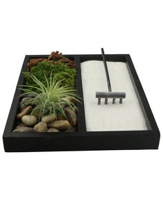 Mini Zen garden is extra relaxing with an air plant soft moss. Sand, rake, pebbles included.