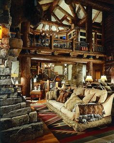 Great room of rustic cabin, cottage or lodge. Also called a family room, living room or cabin interior. Log Cabin Living, Log Cabin Homes, Log Cabins, Mountain Cabins, Mountain Homes, Haus Am See, Cabin In The Woods, Vail Colorado, Cabins And Cottages