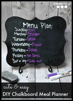 Make your own DIY Chalkboard Menu Board. So easy and cute too! Lots of ways to personalize this project for your home.