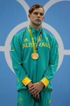 #RIO2016 Gold medalist Kyle Chalmers of Australia poses on the podium during the medal ceremony for the Men's 100m Freestyle Final on Day 5 of the Rio 2016...
