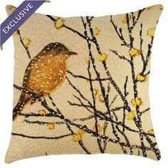 "Burlap pillow with a bird motif. Handmade in the USA.  Product: PillowConstruction Material: Burlap coverColor: Yellow and blackFeatures:  Handmade by TheWatsonShopZipper enclosureMade in the USA Insert includedDimensions: 16"" x 16""Cleaning and Care: Spot clean"