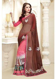 multi couleur georgette saree, - 84,00 €, #Sariindienmariage #Sariindien #Robebollywood #Shopkund