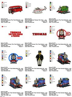 Package 19 Thomas The Train Embroidery Designs  This listing is for a digital file to be embroidered. You will need an embroidery machine to