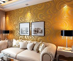 Modern Luxury Abstract Curve 3d Wallpaper Roll Mural Papel De Parede Flocking for Striped Gold&yellow Color Qh-wallpaper 0.7m*8.4m=5.88㎡ QH http://www.amazon.co.uk/dp/B00NU4O53G/ref=cm_sw_r_pi_dp_bbgJvb1VF9W6J