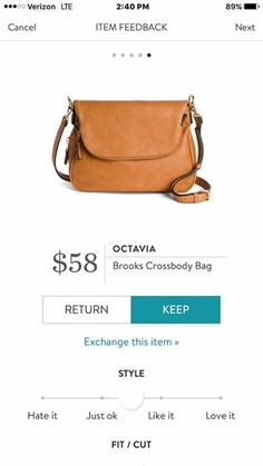I almost exclusively use cross body bags. Like the yellowish-brown color of this one.