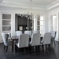 Dove Gray Velvet Dining Chairs with Curved Dining Table