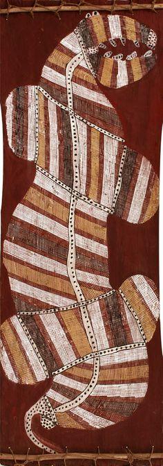 Artist: Ken Ngindjalakku Djungkidj  Title: Rainbow Serpent  Medium:Ochre pigments with PVC fixative on Stringybark (Eucalyptus Tetradonta)  Size: 156 x 54cm