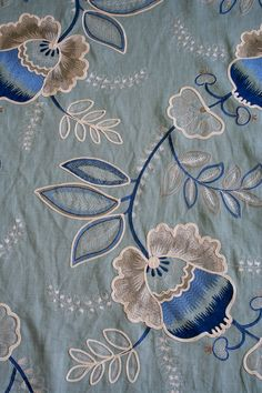 Price per metre is $149  Width is 137cm wide  An absolutely beautiful embroidered crewel linen.    Only 2 metres