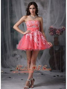 Custom Made Watermelon A-line Strapless Homecoming Dress Organza Appliques Mini-length- $98.78  http://www.fashionos.com   | affordable prom dress | where to buy prom dress | prom dress online shop | prom dress websites | low price prom dress | fitted prom dress | pretty prom dress for 2013 |