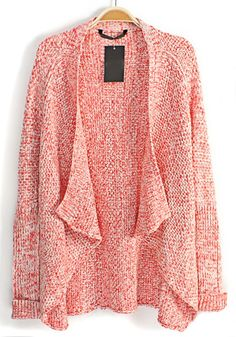 Red Irregular Bat Sleeve Thin Cotton Blend Cardigan