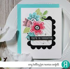 Hello! I ran across this sketch from one of my favorite challenge blogs.....CAS(E) this Sketch! and I had to play along with some of my Reverse Confetti stamps and dies! Using Buds 'n Blooms, I st