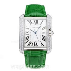 Cartier Tank Diamond Case with White Dial-Green Leather Strap has been considered as one of the best Cartier Tank watches in the watch market. Here you can enjoy a better view of it. Various choices can satisfy every personality. Cartier Tank Francaise, Tank Watch, Jewel Box, High Jewelry, Green Leather, Shades Of Green, Luxury Watches, Choices, Personality
