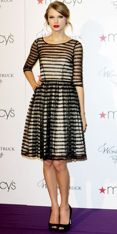Taylor Swift launched her fragrance at Macy's in a striped cocktail dress by #TracyReese