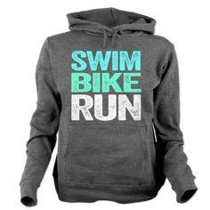 Triathlon. Swim. Bike. Run. Women's Hooded Sweatshirt. #fitness #motivation