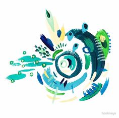 """""""Cyclone in Green and Blue 1"""" (2015) Greeting Cards & Postcards by hookneye 