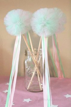 Tulle Pom Wands