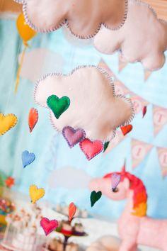 Cloud + Rainbow Heart Mobile from a Rainbow Unicorn Birthday Party via Kara's Party Ideas | KarasPartyIdeas.com (7)