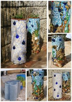 pvc pipe and art for your garden-everyone keeps posting bad links. pvc pipe and art Mosaic Crafts, Mosaic Projects, Mosaic Art, Mosaic Glass, Mosaics, Stained Glass, Outdoor Crafts, Outdoor Art, Garden Crafts