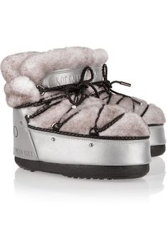 Moon Boot | + Jimmy Choo MB Buzz shearling and shell snow boots | NET-A-PORTER.COM