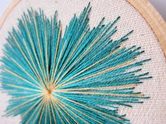 Teal Blue and Gold Starburst Embroidery Hoop Art by IFeltFuzzy