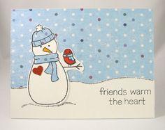Winter card using @Lauren Davison Davison Wood Fawn stamps.