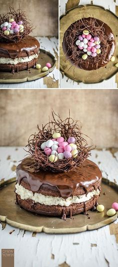 Chocolate Easter Egg Nest Cake   Chew Town Food Blog. This is beautiful and looks delicious!