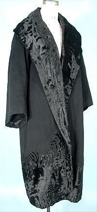 c. 1925 rare, numbered Beer Paris Black Wool with cut velvet wrap coat