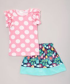 Loving this Pink Polka Dot Tee & Skirt - Toddler & Girls on #zulily! #zulilyfinds